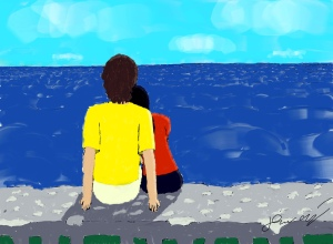 "My son's Sunabe Seawall-inspired painting titled simply ""GOAL"""