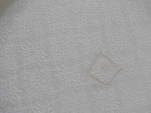 A really bad patch...in the wallpaper on the ceiling.