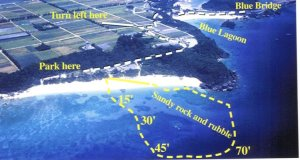 Mama-san Beach - reefs and rural directions