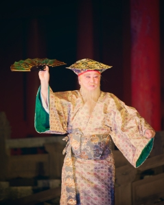 Okinawa Aug 2013, Shuri Castle, male performer of the Kajadihu dance, mid-Autumn Festival