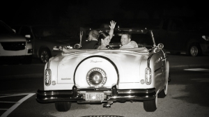 Rich-King Wedding 2011, a classic car wave goodbye from the departing couple