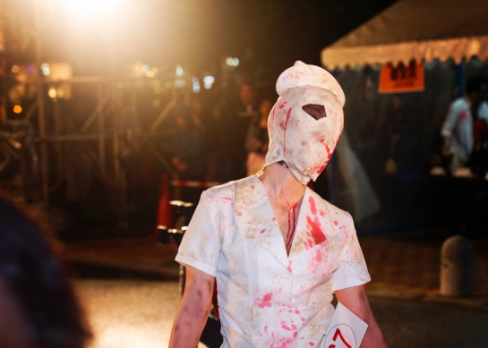 Okinawa Oct 2013, Mihama Halloween, bloody bandaged nurse