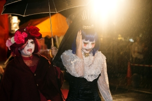 Okinawa Oct 2013, Mihama Halloween, ghouls melting in the rain
