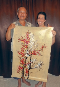 Jody and Our Artist Proudly Display Our Newest Far Eastern Painting