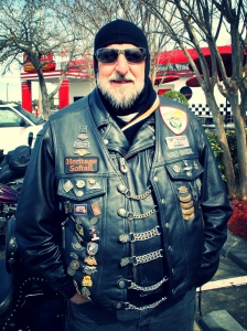 A good biker-bud of mine in full leathers.  Where's the Rising Sun, Jim??