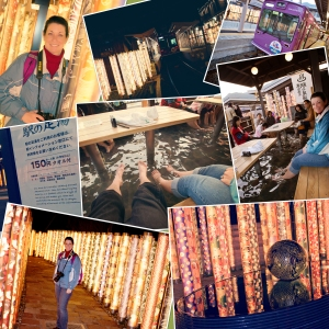 Kyoto Japan Winter 2014, Arashiyama, Arashiyama Train Station photo-collage