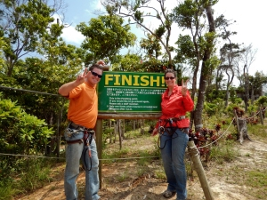 Okinawa Forest Adventure 2014, Jody and Kevin GOAL!!