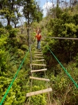 Okinawa Forest Adventure 2014, Kevin on a shaky wooden bridge in the jungle