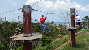 Okinawa Forest Adventure 2014, managing the early beginner obstacles
