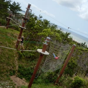 Okinawa Forest Adventure 2014, Tarzan Swing into a cargo (scramble) net