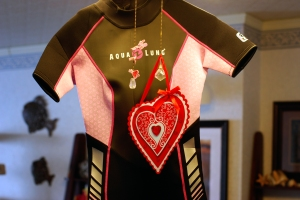 Jody's heartfelt wetsuit, an Okinawan version of diver lingerie