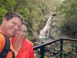 Okinawa Nov 2013, Hiji Falls, couple's selfie at the falls
