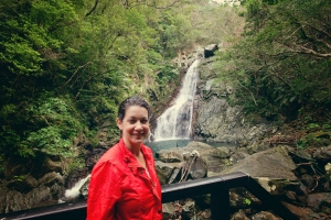 Okinawa Nov 2013, Hiji Falls, Jody poses at Hiji Giant Falls