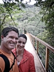 Okinawa Nov 2013, Hiji Falls, Selfie on the suspension bridge, the halfway point