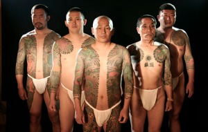 Japanese Gangbangers sport not your normal tattoos