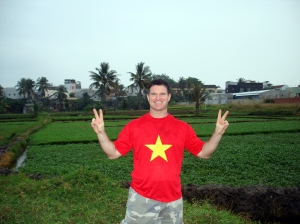 Posing in front of countryside rice fields
