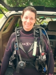 Okinawa Oct 2013, Scuba Diving Dung Steps, Jody geared up in her new 5mm wetsuit and ready to go!