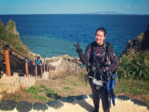 Jody at Maeda Point, perhaps Okinawa's most famed dive site