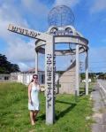 Iriomote Okinawa 2014, Jody touching the longitudinal meridian 123456789