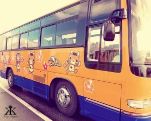 Cat Cartoons Adorn All!  Even our hotel bus.