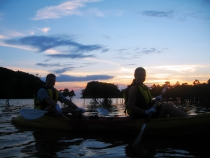 Sunset from our mangrove-positioned kayak