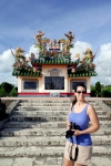 Ishigaki Vacation 2014, Toujin Grave, Jody poses in front of the most beautiful monument