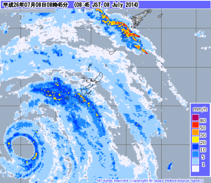 The eye passing close to Okinawa, outlined just beyond the dark blue band