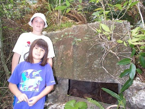 My kids checking out a pillbox on Kadena AFB