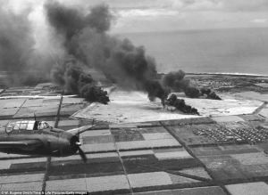 Carrier aircraft attack Ishigaki-jima in the Ryukyus