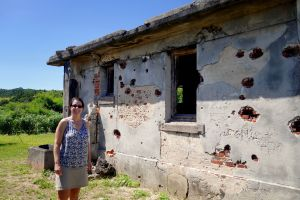 Ishigaki Vacation 2014, Denshinya (Imperial Japanese Army Telegraph Station), Jody modeling the Army's Station