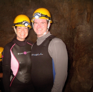 Okinawa Cave Spelunking 2014, Kevin and Jody couples cave exploration