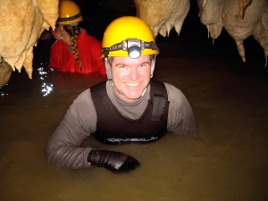 Okinawa Cave Spelunking 2014, Kevin in chest-deep water