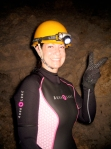 Okinawa Cave Spelunking 2014, peaceful Jody excited about exploring the cave!