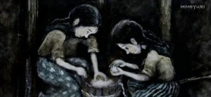 Girls making rice balls at the Haebaru Field Hospital