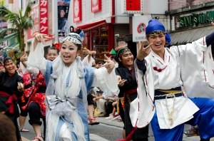 Shurijo Castle Festival 2014, Ryukyu Dynasty Parade, costumed happy dancers