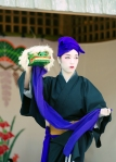 Shurijo Festival Oct 2014, court dance, female dancer and minature puppet shishimai