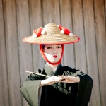Shurijo Festival Oct 2014, court dance, female straw hat dancer
