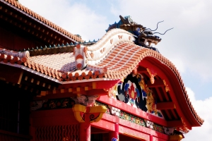Shurijo Festival Oct 2014, dragon-topped Seiden rooftop roofline structure