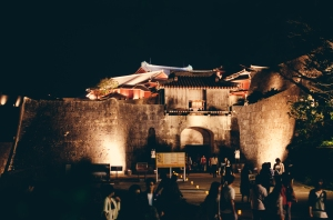 Shurijo Festival Oct 2014, Shurijo, Kankaimon gate and castle approach at night