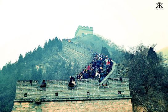 China 2014, Great Wall, crowded lower reaches of the wall WM