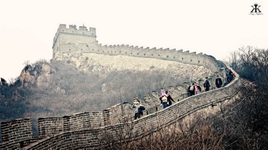 China 2014, Great Wall, curving ridgeline mountainous wall WM