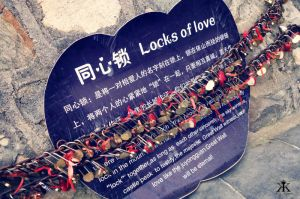 China 2014, Great Wall, locks of love explanation placard WM