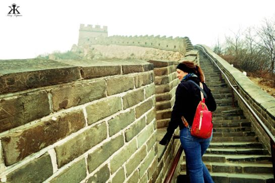 China 2014, Great Wall, private pausing on the way up