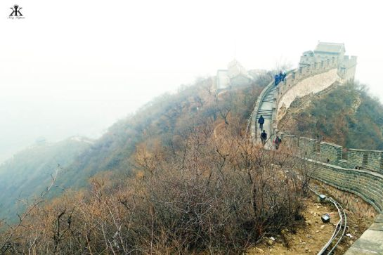 China 2014, Great Wall, ridge-top wall at a mountain pass