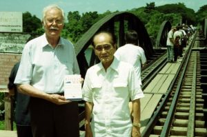 Lomax and Nagase visit a Death Railway bridge over the River Kwai
