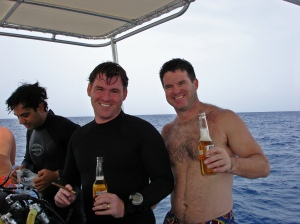 Me and David celebrate another deep dive together, ~2002