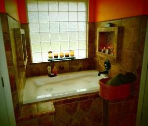 The deep-soak tub we installed after remodeling our master bathroom.