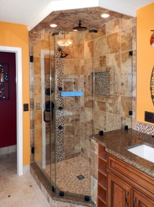 Our non-slip sizeable shower.  We even have a teak stool in the hidden corner!
