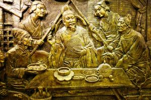 China 2014, Xian, Dumpling Dinner, bronze relief of dumpling making of the past 3