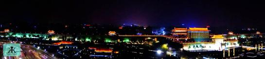China 2014, Xian, illuminated old city wall WM